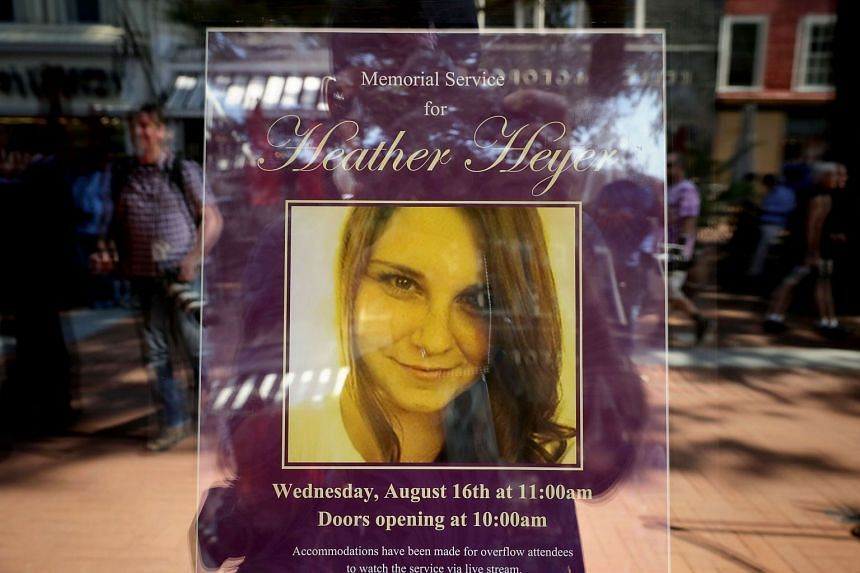 A poster announcing the memorial service for Heather Heyer.