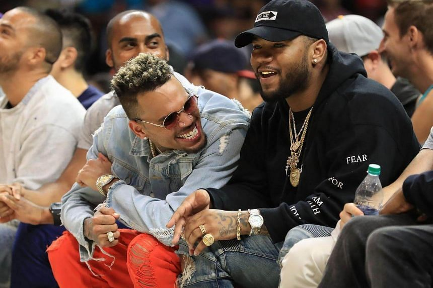 Recording artist Chris Brown attends week eight of the BIG3 three on three basketball league at Staples Center in Los Angeles, California, on Aug 13, 2017.