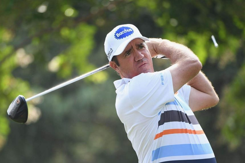 Scott Hend of Australia plays his shot from the 11th tee during the first round of the 2017 PGA Championship at Quail Hollow Club in Charlotte, North Carolina, on Aug 10, 2017.