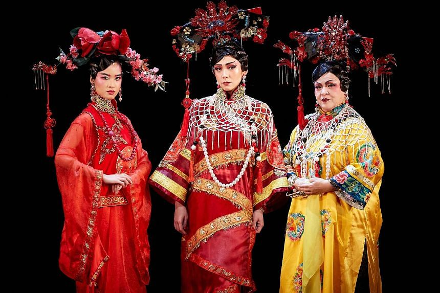 (From left) Cheryl Tan, Kit Chan and Sheila Francisco in Forbidden City: Portrait of an Empress.