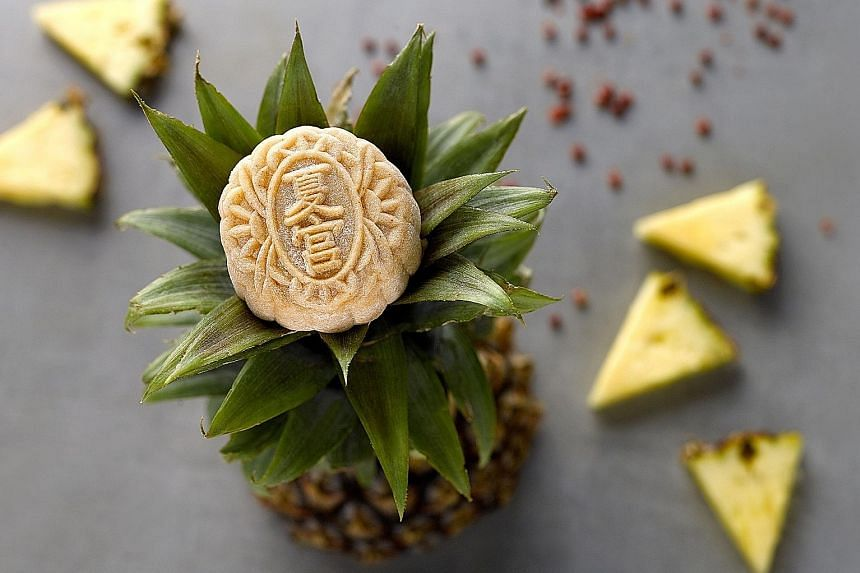 The Pineapple Pink Peppercorn snowskin mooncake from Summer Palace.
