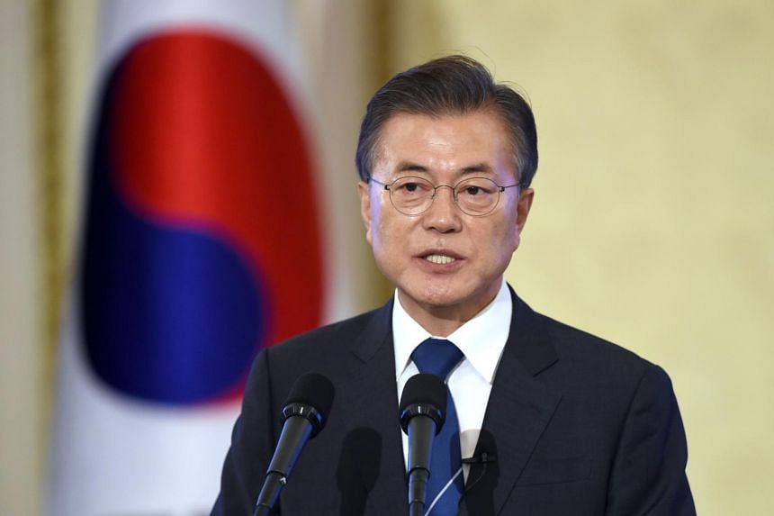 South Korea's President Moon Jae In speaks during a press conference marking his first 100 days in office on Aug 17, 2017.