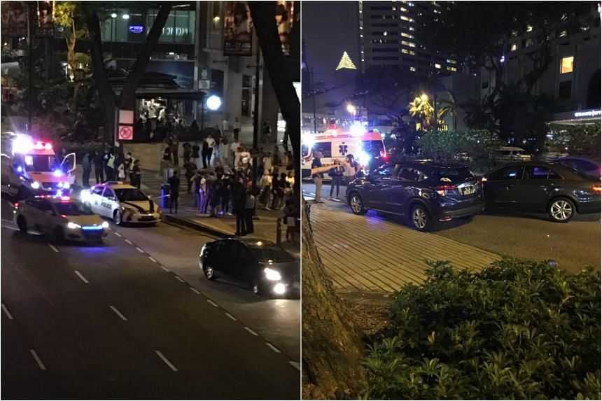 Photos posted on Facebook by user Supper Jimmy showed ambulances and police cars outside Royal Plaza on Scotts on Aug 18, 2017.