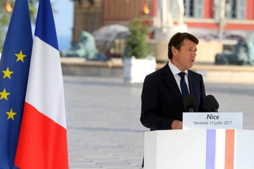 Nice's Mayor Christian Estrosi at a commemorative ceremony marking the first anniversary of the jihadist truck attack in Nice, southern France, on Bastille Day, on July 14, 2017.