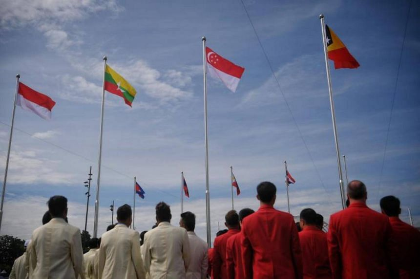 National flags of participating countries are seen after the SEA Games welcome ceremony and flag raising for participating nations held at the Bukit Jalil National Stadium on Aug 16, 2017.