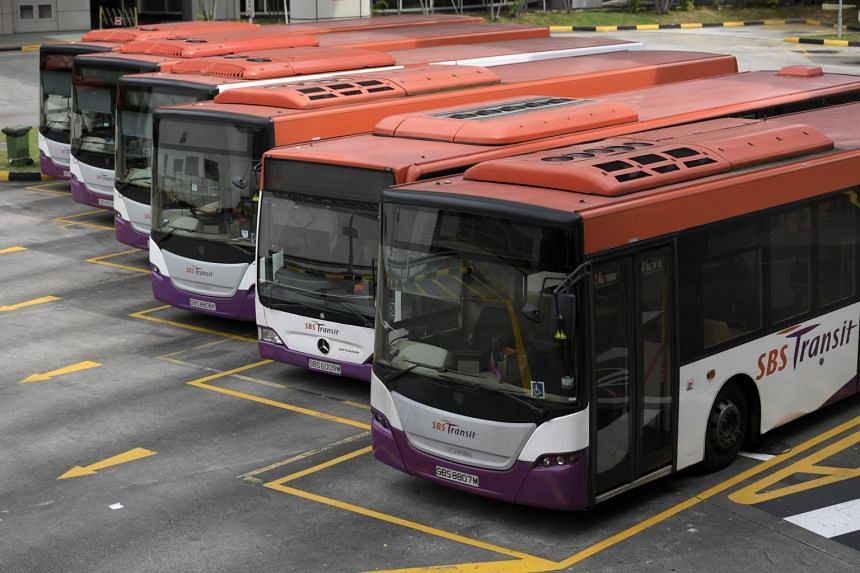 SBS buses parked at the Toa Payoh bus interchange, on Jan 16, 2017.