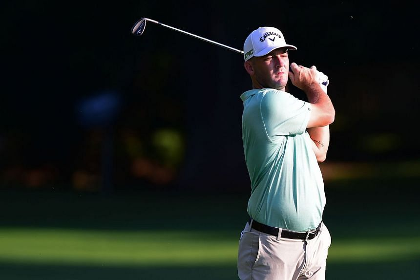 Matt Every plays his second shot on the second hole during the first round of the Wyndham Championship at Sedgefield Country Club on Aug 17, 2017.