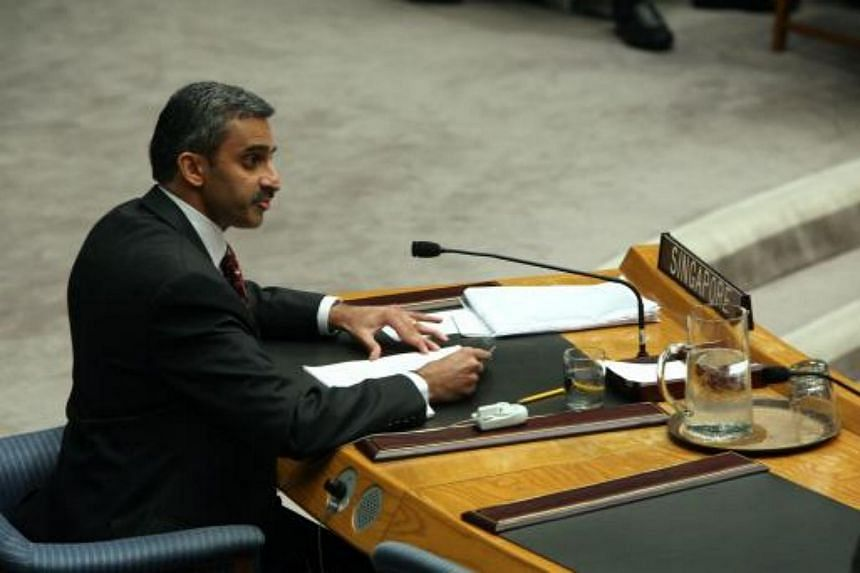 Singapore's Ambassador to the UN Vanu Gopala Menon addresses a UN Security Council meeting on Myanmar at the United Nations, in New York.