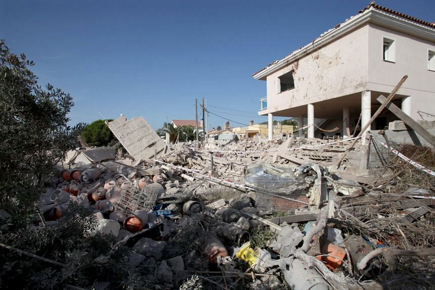 The remains of the house after it collapsed due to a gas blast in Alcanar, Catalonia.