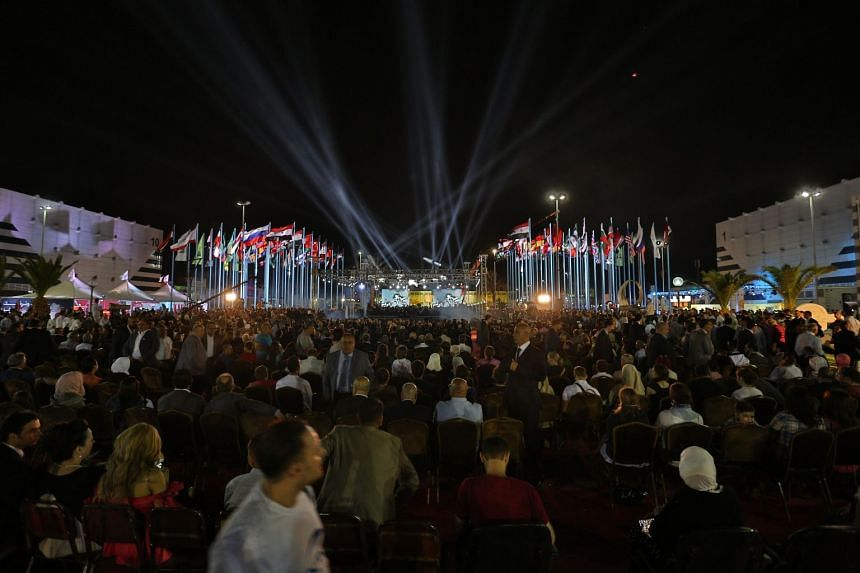 A general view of the opening ceremony of the Damascus International Fair.