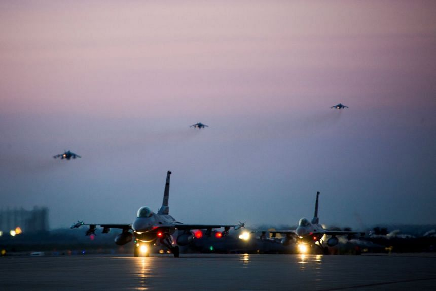 US Air Force planes taking part in an exercise at Kunsan Air Base, South Korea, in April 2017.
