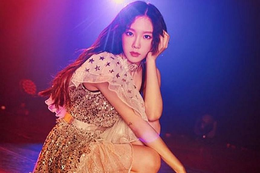 Girls' Generation singer Taeyeon fell at Jakarta airport after a crowd surged around her.