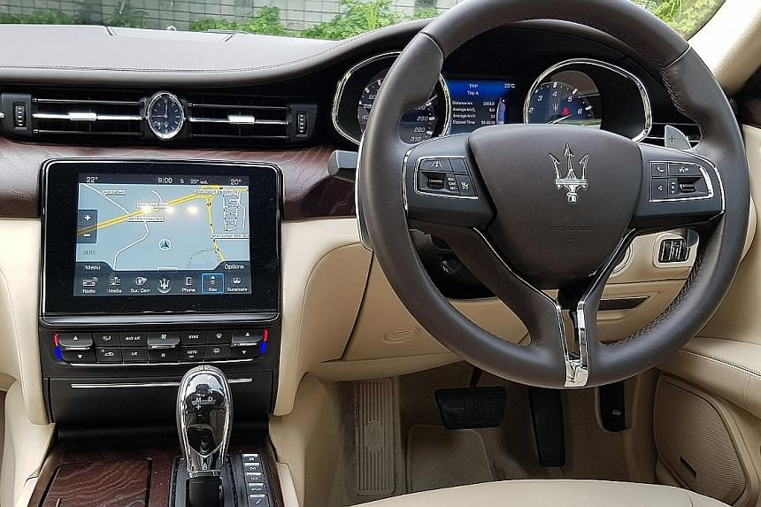 The Maserati Quattroporte GranLusso is ideally sprung for high-speed travel, offering an unusual compromise in ride comfort and roadholding.