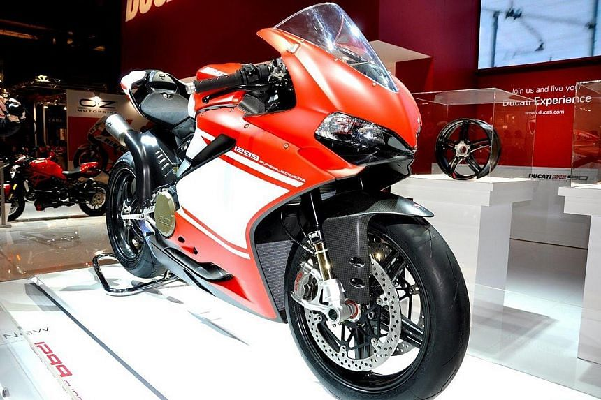 The Ducati 1299 Panigale Superleggera at the Milan Motorcycle Show.