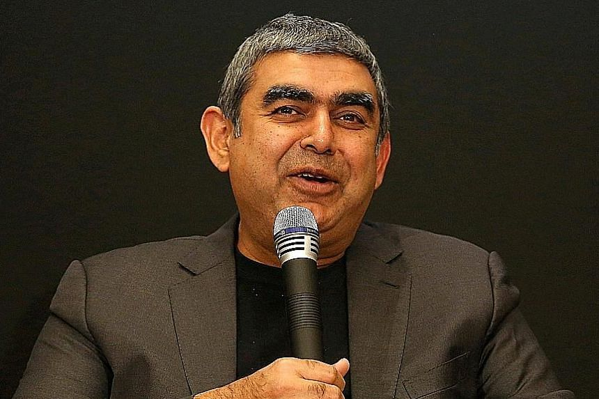 The chief exec post held by Infosys' Vishal Sikka (above) will be filled by Mr Pravin Rao, the interim MD and CEO.