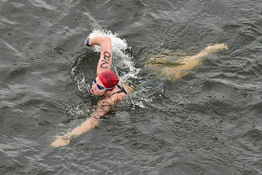 Chantal Liew on the way to taking bronze in the 10km open water swim at the Putrajaya Water Sports Complex yesterday.
