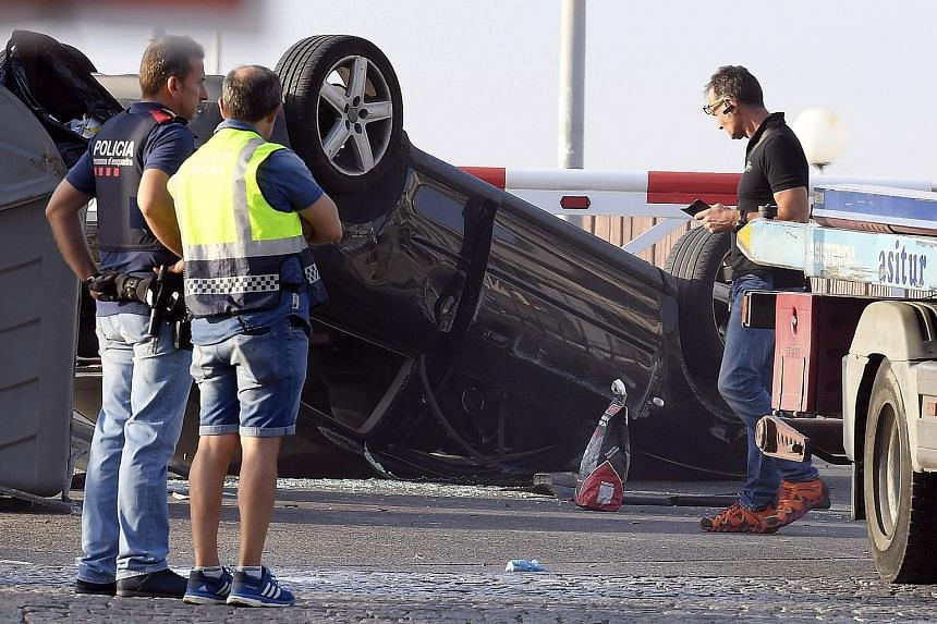 The car that slammed into a crowd in Cambrils, 120km south of Barcelona, where a similar attack took place on Thursday.