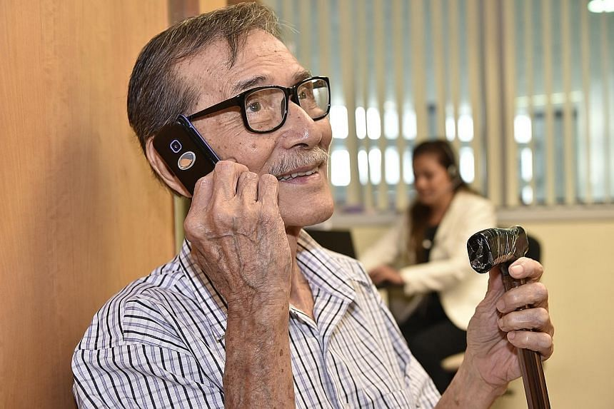 Retiree Louis Lim, who broke his hip in June, is just one of the patients who have benefited from the Osteoporosis Liaison Service at Changi General Hospital. Telephone follow-ups from the team help him to manage his condition at home.