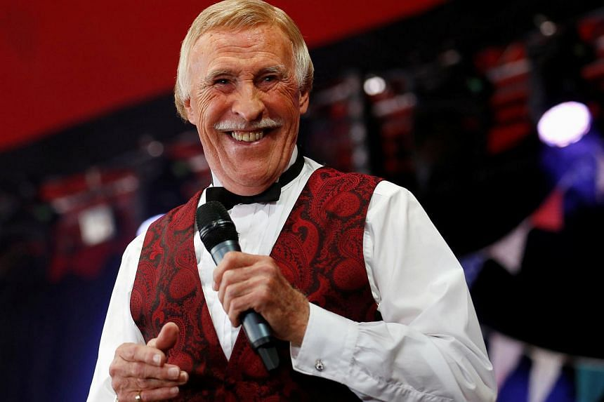 TV presenter and entertainer Bruce Forsyth performs on the Avalon Stage at the Glastonbury music festival at Worthy Farm in Somerset, on June 30, 2013.