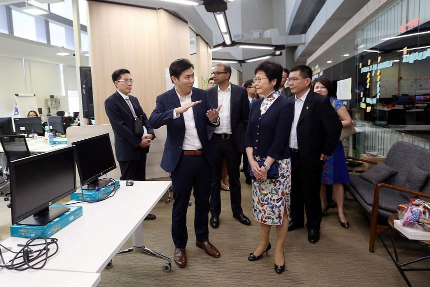 Hong Kong Chief Executive Carrie Lam visiting GovTech Hive at the Sandcrawler in Fusionopolis, on Aug 3, 2017.