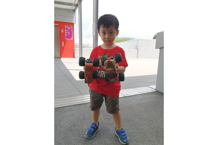 Three-year-old Ryan Tan, who is a fan of Monster Jam, brought his two collectible trucks along to the the National Stadium for Monster Jam Singapore on Aug 19, 2017.