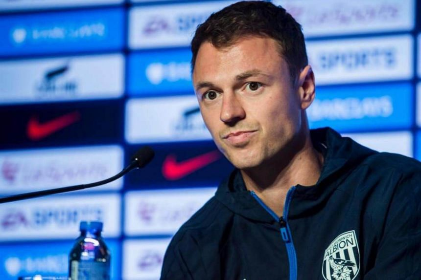 West Bromwich Albion Football Club player Jonny Evans attends a press conference in Hong Kong on July 18, 2017.