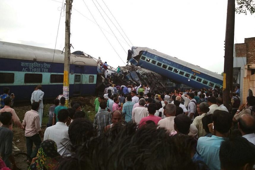 A train came off the tracks in India's northern state of Uttar Pradesh, killing 10 people.