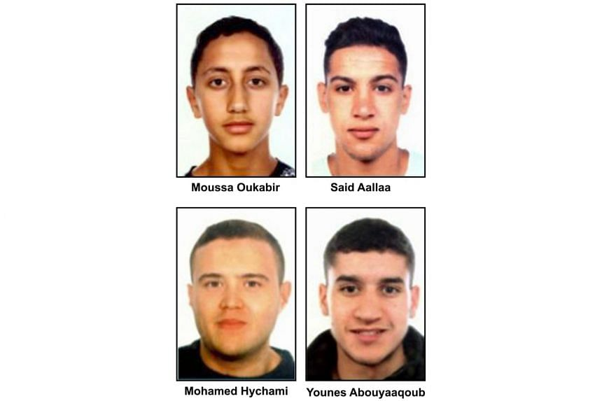 """A combo of handout images released by the Catalan regional police """"Mossos D'Esquadra"""" on Aug 18, 2017 shows four suspects of the Barcelona and Cambrils attacks, (from top left) Moussa Oukabir, Said Aalla, Mohamed Hychami and Younes Abouyaaqoub."""