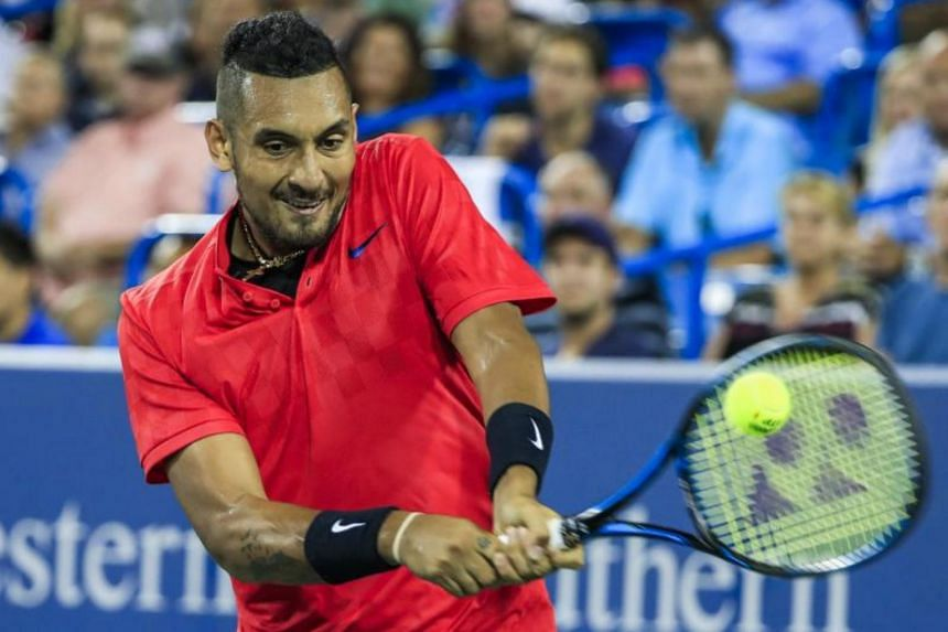 Nick Kyrgios of Australia in action against Rafael Nadal of Spain during their match in the Western & Southern Open tennis tournament at the Linder Family Tennis Center in Mason on Aug 18, 2017.