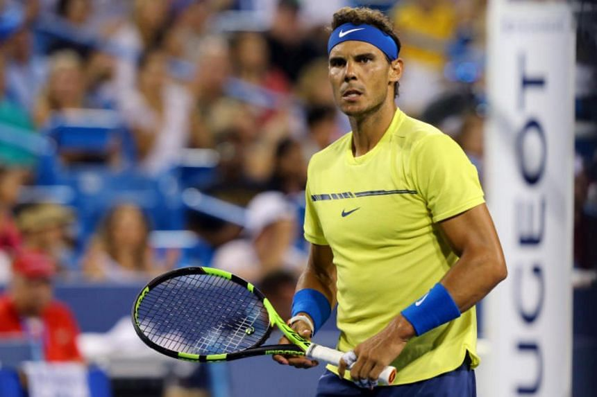 Rafael Nadal (ESP) reacts against Nick Kyrgios (AUS) during the Western and Southern Open at the Lindner Family Tennis Center.