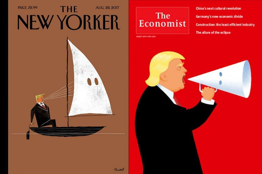The New Yorker and The Economist had Mr Trump on their covers, and Time, a person draped in a US flag giving Nazi salute.