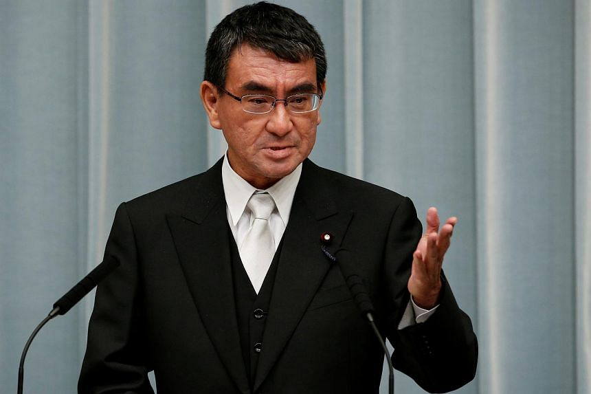 Japan's Foreign Minister Taro Kono speaks at a news conference in Tokyo, Japan, on Aug 3, 2017.