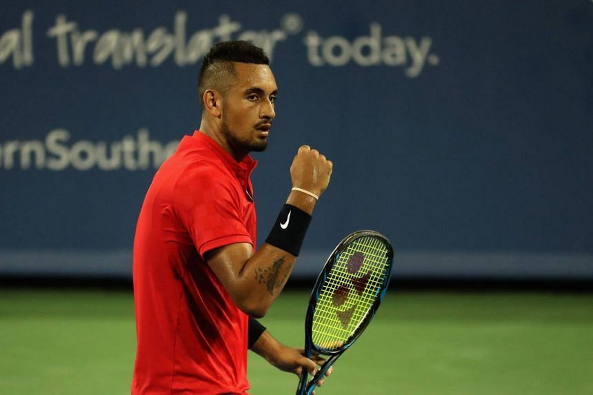 Nick Kyrgios of Australia celebrates winning a point against David Ferrer of Spain during Day 8 of the Western and Southern Open at the Linder Family Tennis Center in Mason, on Aug 19, 2017.
