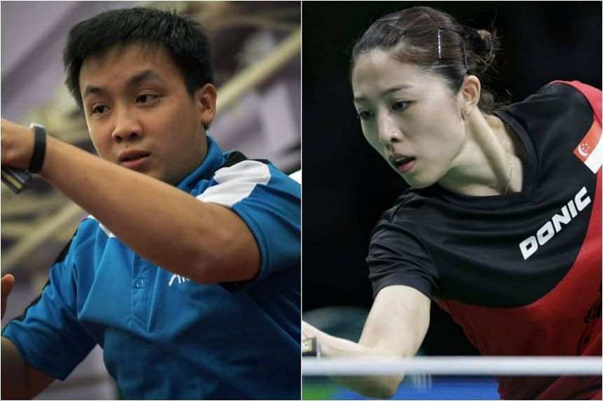 Pang Xue Jie (left) and Yu Mengyu missed out on winning Team Singapore's first table tennis gold at the 29th SEA Games on Aug 20, 2017.