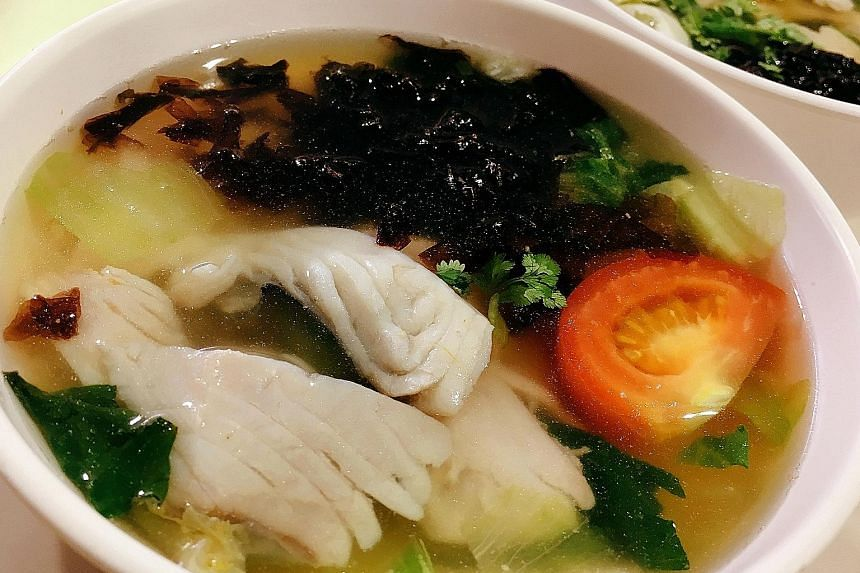 Fish stock is made from boiling batang (Spanish mackerel) bones for 12 hours at Teochew Fish Soup-Fish Porridge.
