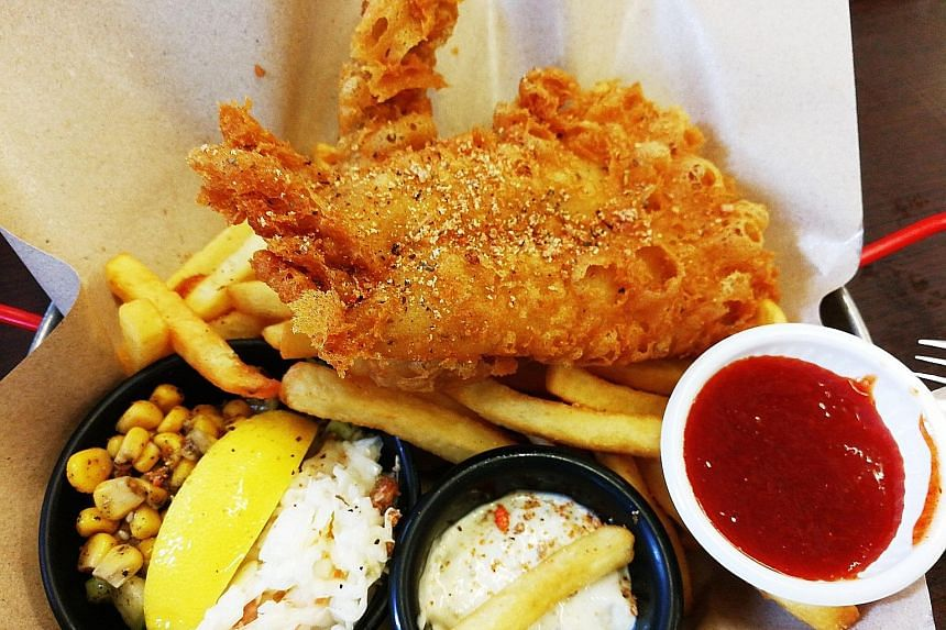 Fried Halibut Fish and Chips.