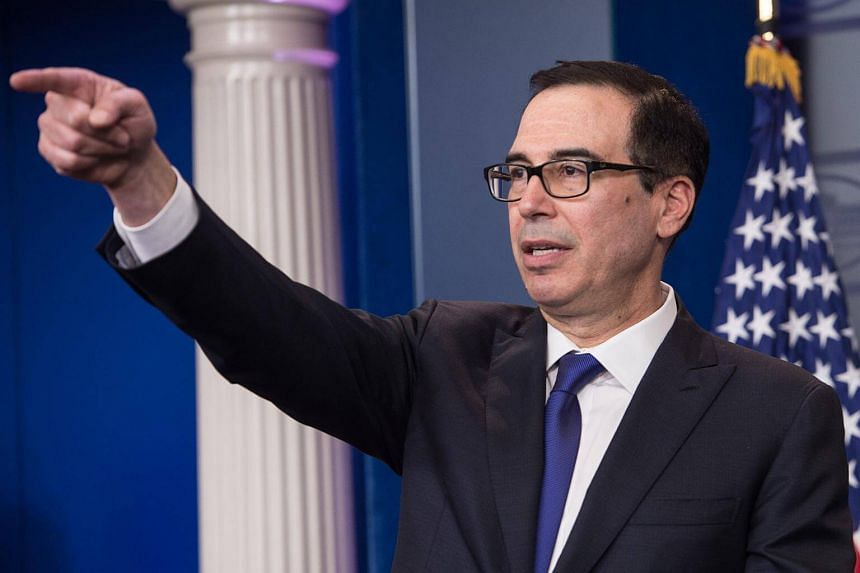Steve Mnuchin speaks at the press briefing at the White House in Washington, DC, on July 31, 2017.