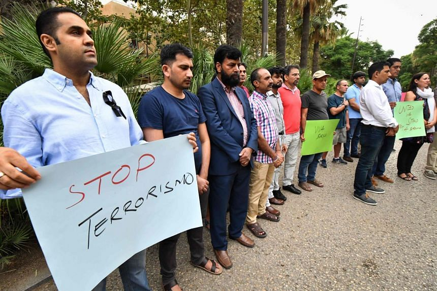 Members of the Pakistani community living in Barcelona gather in tribute to the victims of the attacks.