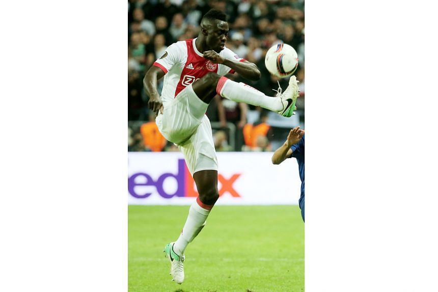 Davinson Sanchez competing for Ajax during May's Europa League final. He has displaced £30 million signings Erik Lamela and Moussa Sissoko as the most expensive player in Spurs' history.