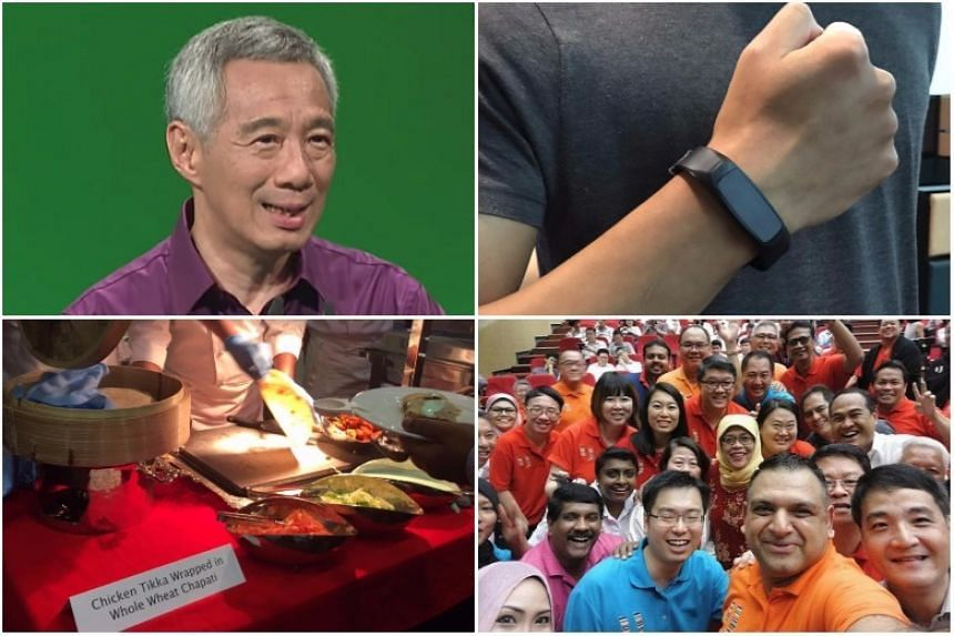 Clockwise from top left: PM Lee Hsien Loong in a purple shirt for NDR 2017, the Fitbit fitness tracker that guests received, Madam Halimah Yacob's wefie with her union friends, and food that were served to guests at the rally.