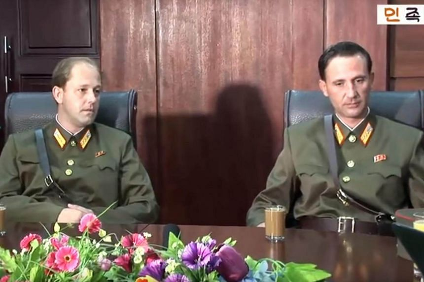 This screengrab taken from an undated YouTube video shows Ted Dresnok (right), son of US defector to North Korea James Joseph Dresnok, and his brother James during an interview at an unknown location, on Aug 21, 2017.
