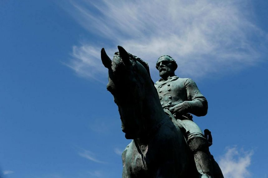 The statue of Confederate General Robert E. Lee at the park which was formerly dedicated to him in Charlottesville, Virginia, and which was the site of the recent violent demonstrations.