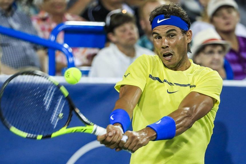 Rafael Nadal of Spain in action against Nick Kyrgios of Australia during their match in the Western & Southern Open tennis tournament at the Linder Family Tennis Center in Mason, on Aug 18, 2017.