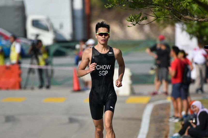 Singapore's Clement Chow running during the triathlon at the SEA Games on Aug 21, 2017.