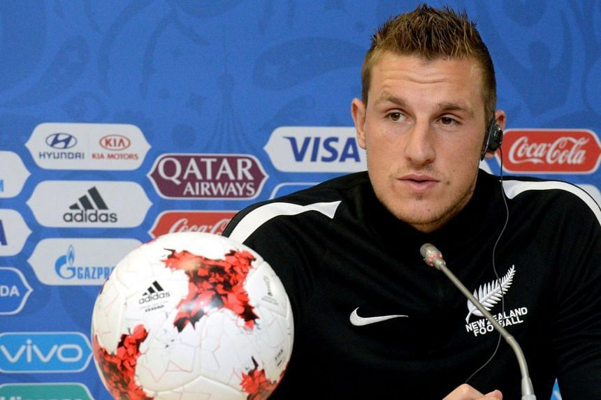 New Zealand's forward Chris Wood speaks during a press conference in Saint Petersburg, on June 23, 2017.
