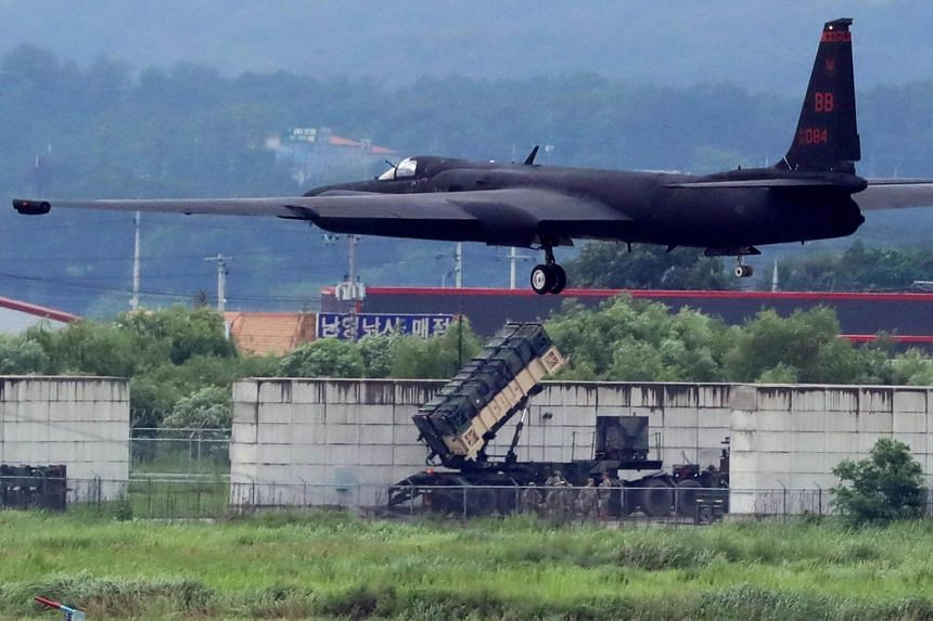 A US Air Force U-2 Dragon Lady taking part in a drill at Osan Air Base in Pyeongtaek, South Korea, on Aug 21, 2017.