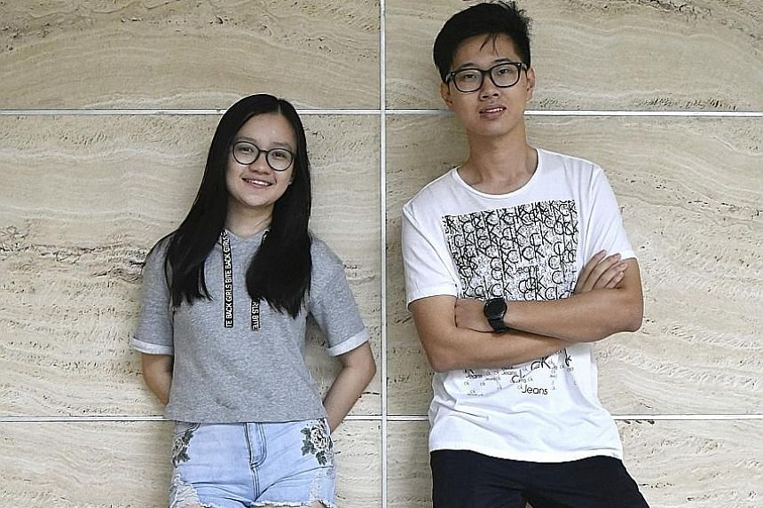 Fion Chai Xin Yi and Liu Yifei from River Valley High won in the group singing category.