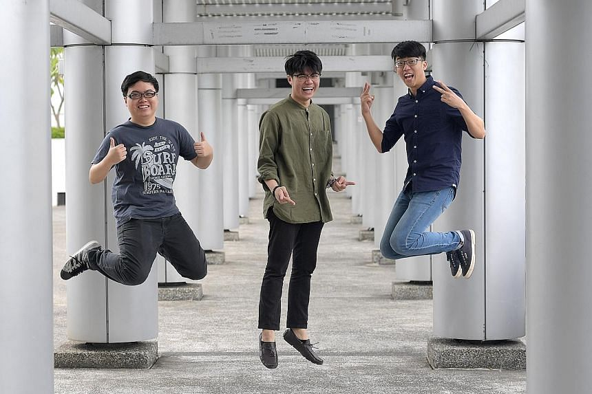 Mr Wayne Oh Geng Hui (left) and Mr Jeremy Hwang Jie Wei (right) bagged the prize for best composition with their song Unforgettable Past, which was performed by their friend Brandon Ling Zi Hao. All are 19 and pursuing diplomas in music and audio technolo