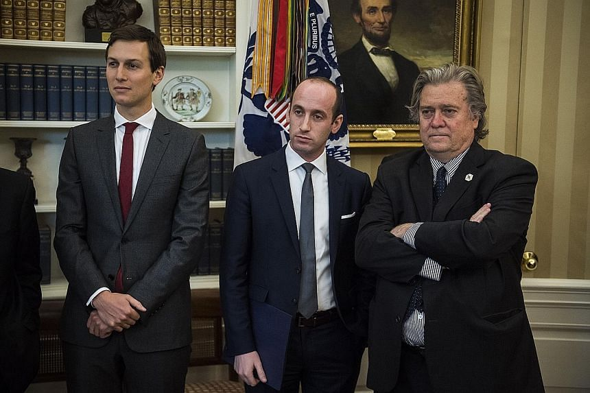 President Donald Trump's key inner circle include (from left) his son-in-law Jared Kushner, Mr Stephen Miller and Mr Stephen Bannon, who has since been pushed out as chief strategist.