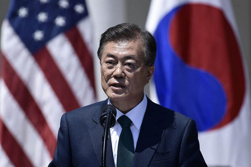 South Korean President Moon Jae In speaks during a joint press conference with US President Donald Trump at the White House in Washington on June 30, 2017.
